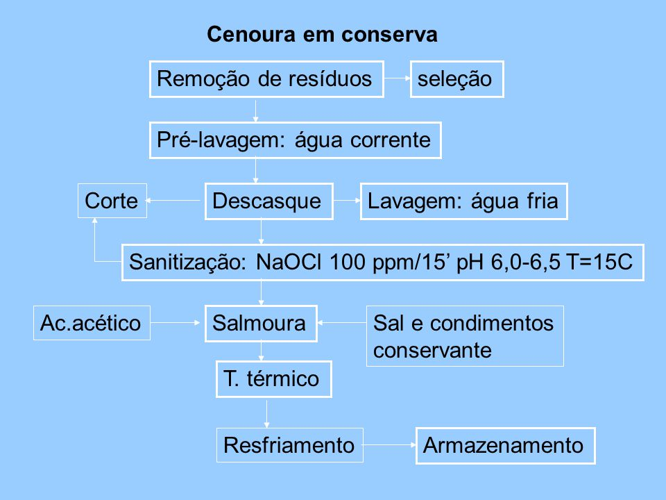 Cenoura em conserva Remoção de resíduos. seleção. Pré-lavagem: água corrente. Corte. Descasque.