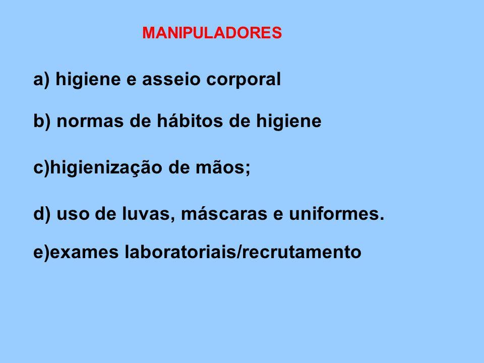 a) higiene e asseio corporal b) normas de hábitos de higiene