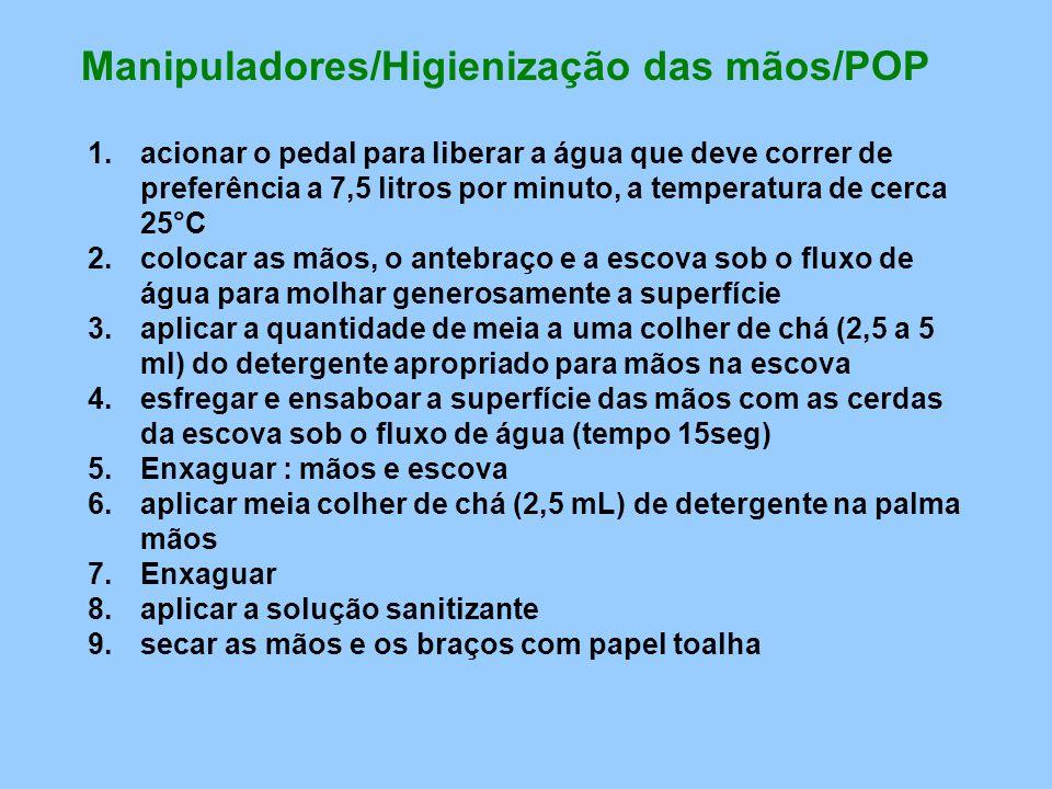 Manipuladores/Higienização das mãos/POP