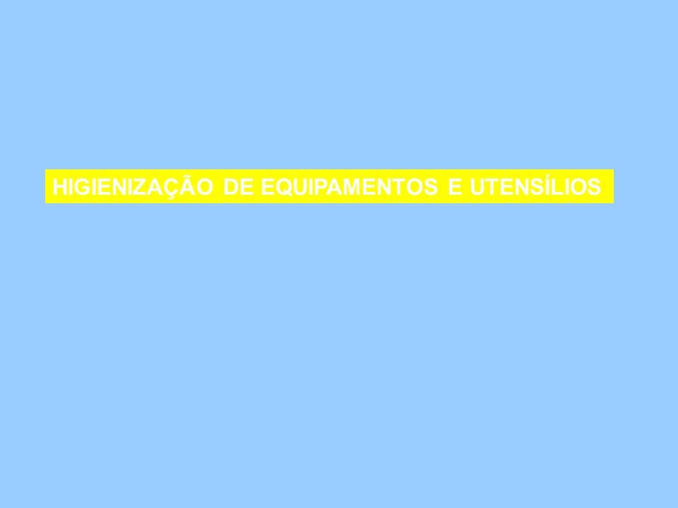HIGIENIZAÇÃO DE EQUIPAMENTOS E UTENSÍLIOS