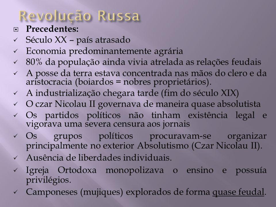 Revolução Russa Precedentes: Século XX – país atrasado