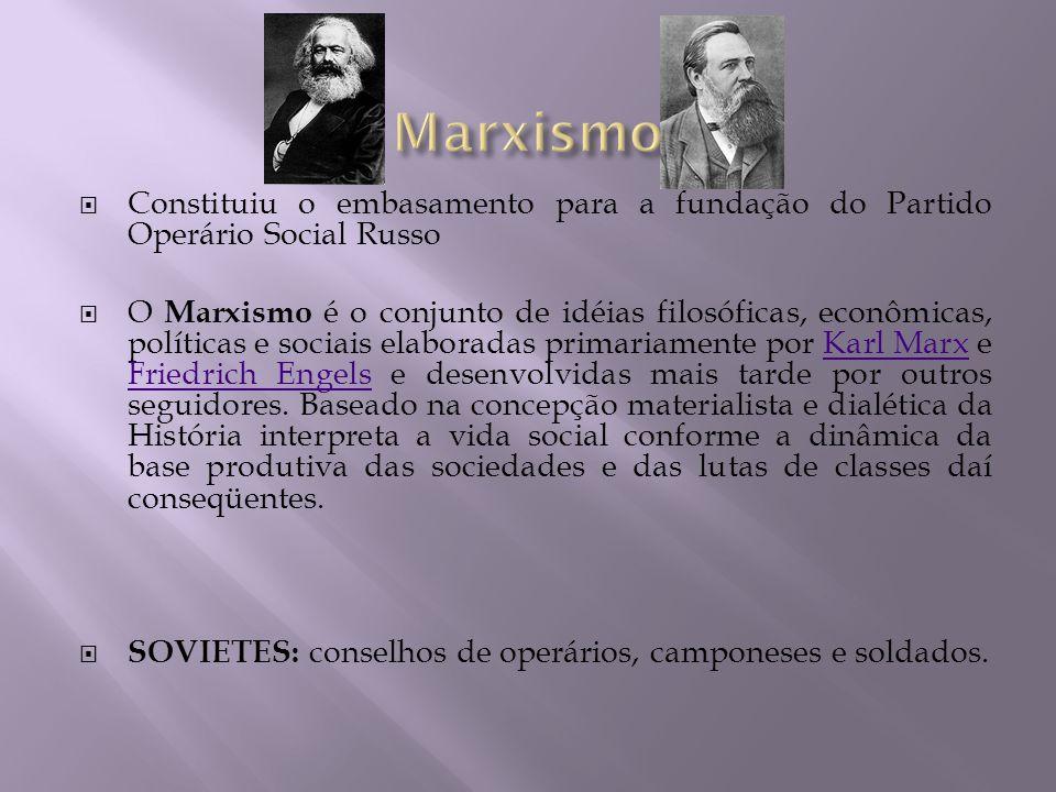 Marxismo Constituiu o embasamento para a fundação do Partido Operário Social Russo.