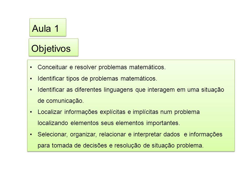 Aula 1 Objetivos Conceituar e resolver problemas matemáticos.