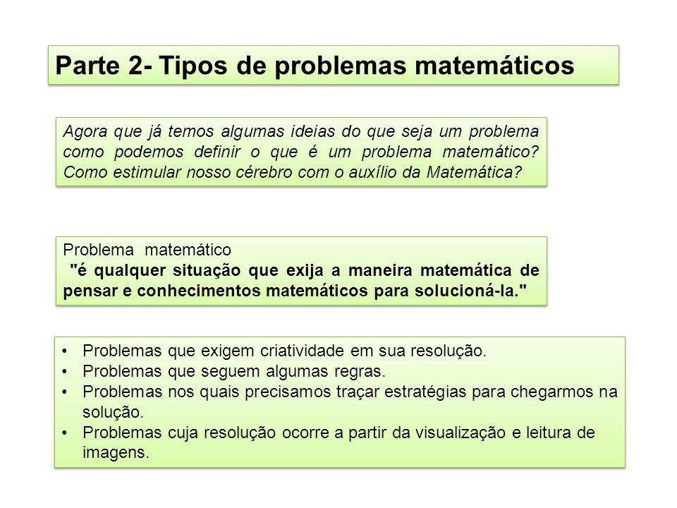 Parte 2- Tipos de problemas matemáticos