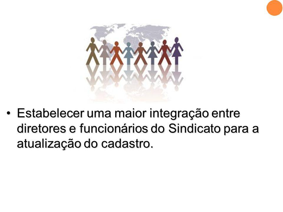 Estabelecer uma maior integração entre diretores e funcionários do Sindicato para a atualização do cadastro.