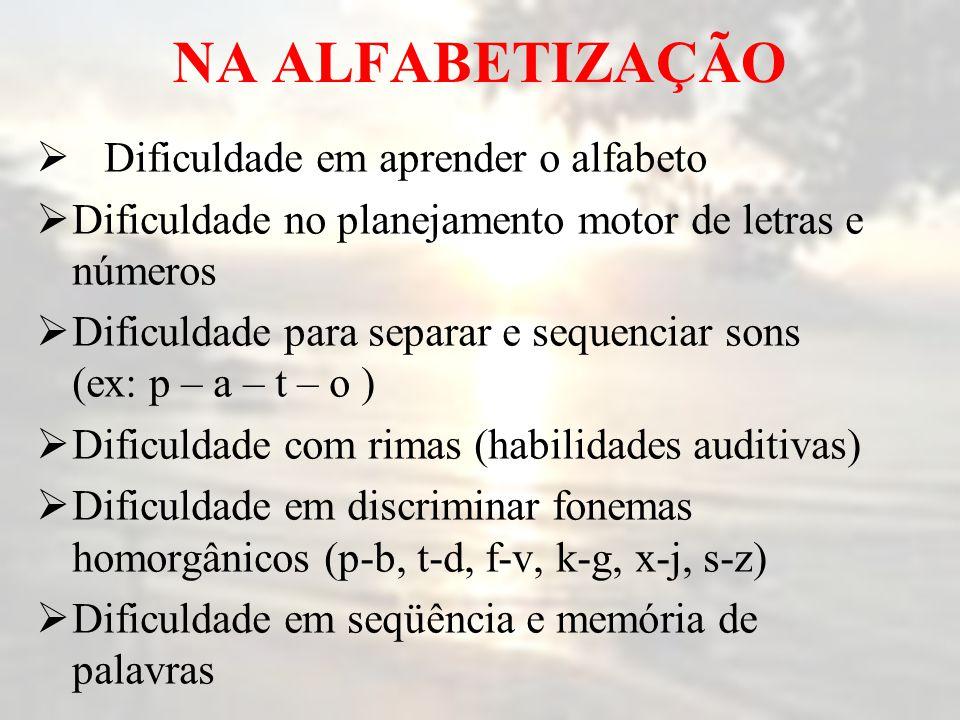 NA ALFABETIZAÇÃO Dificuldade em aprender o alfabeto