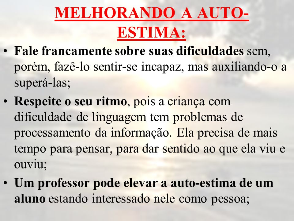 MELHORANDO A AUTO-ESTIMA: