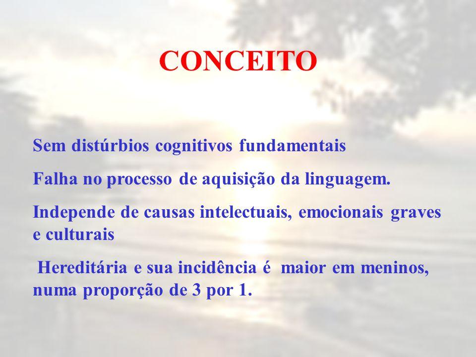 CONCEITO Sem distúrbios cognitivos fundamentais