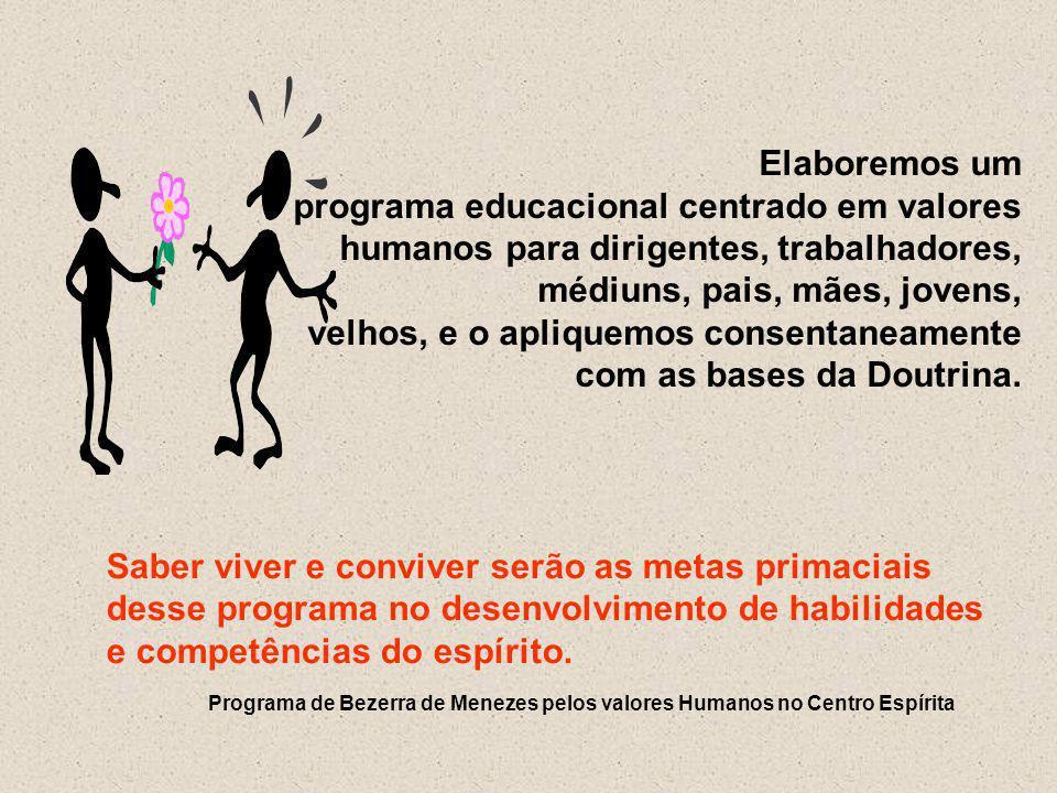 Elaboremos um programa educacional centrado em valores humanos para dirigentes, trabalhadores, médiuns, pais, mães, jovens,