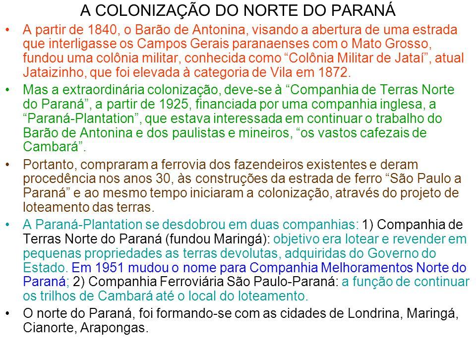 A COLONIZAÇÃO DO NORTE DO PARANÁ