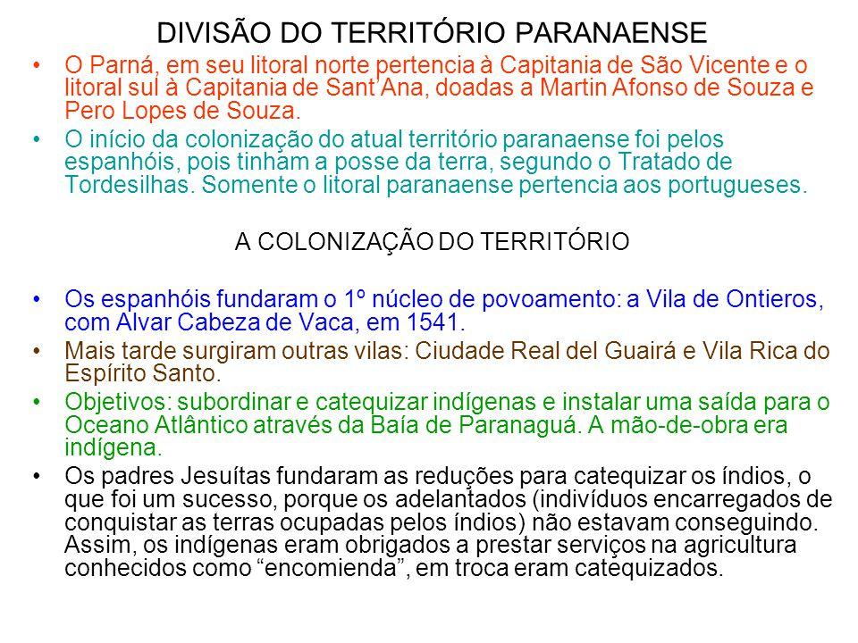DIVISÃO DO TERRITÓRIO PARANAENSE