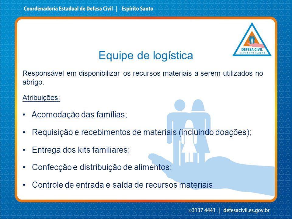 Equipe de logística Acomodação das famílias;