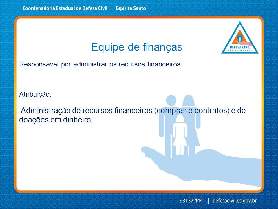 Equipe de finanças Responsável por administrar os recursos financeiros. Atribuição: