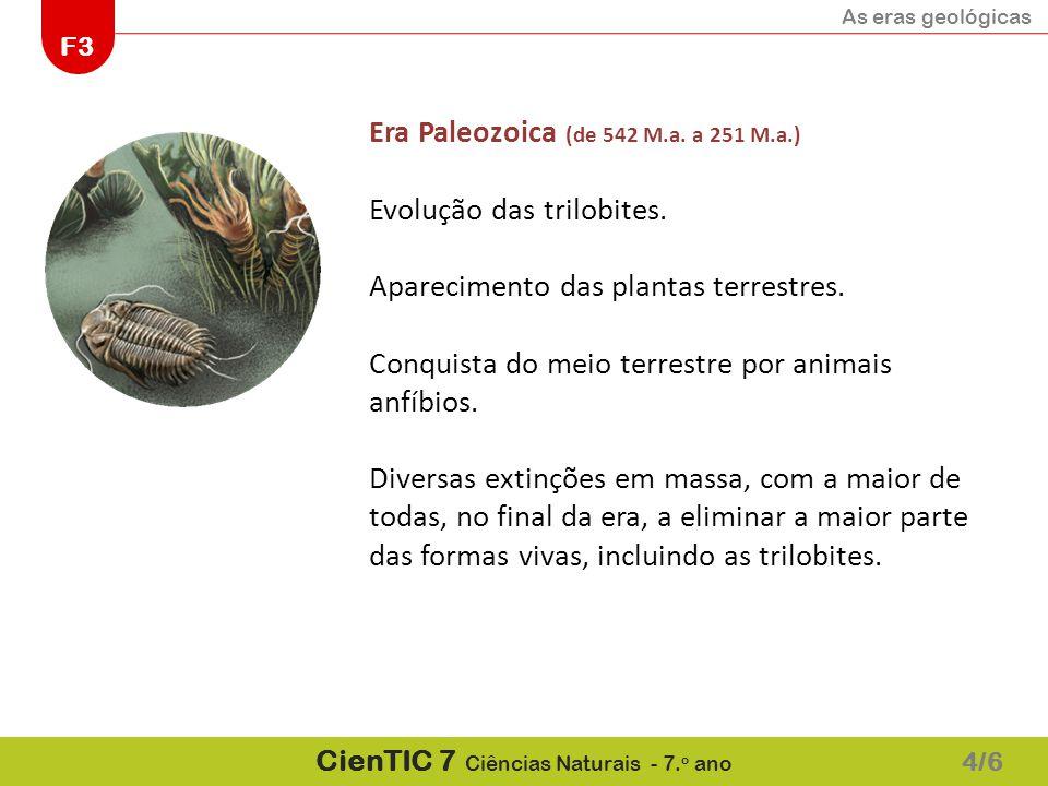 Era Paleozoica (de 542 M.a. a 251 M.a.) Evolução das trilobites.