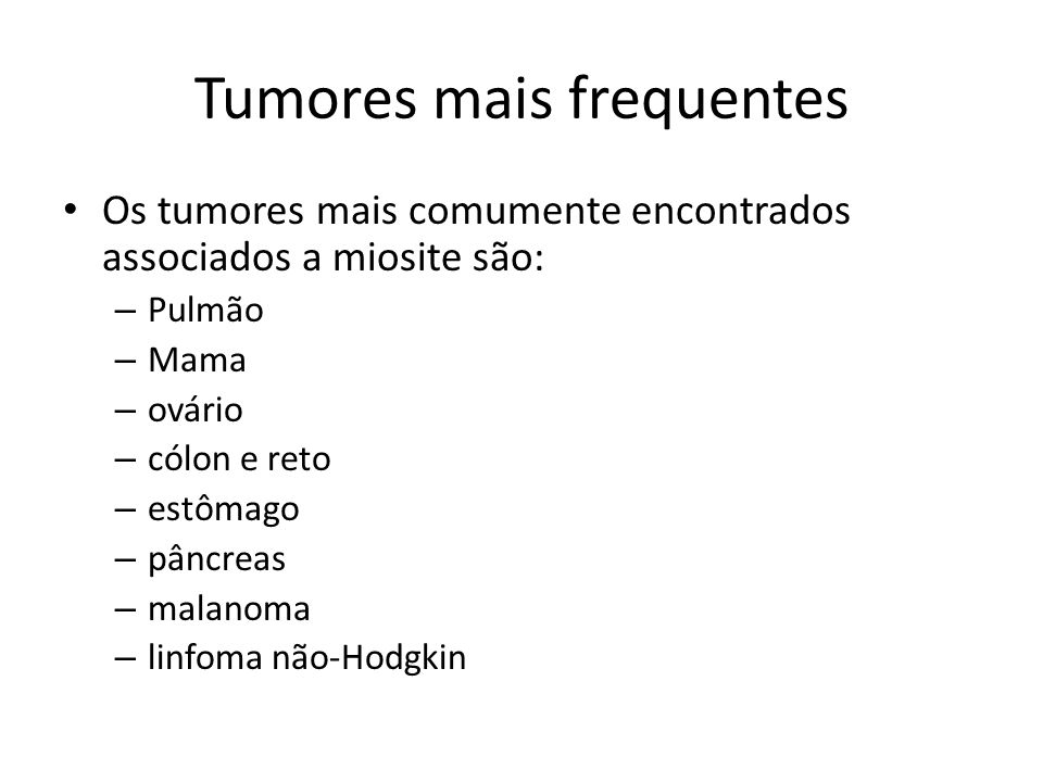 Tumores mais frequentes