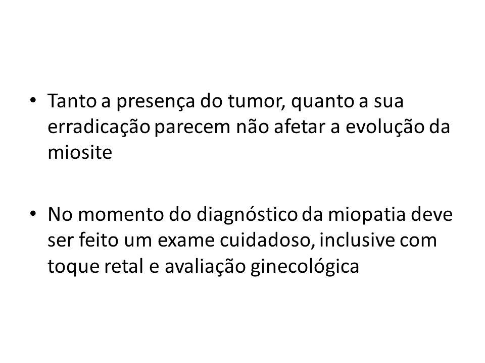 Tanto a presença do tumor, quanto a sua erradicação parecem não afetar a evolução da miosite