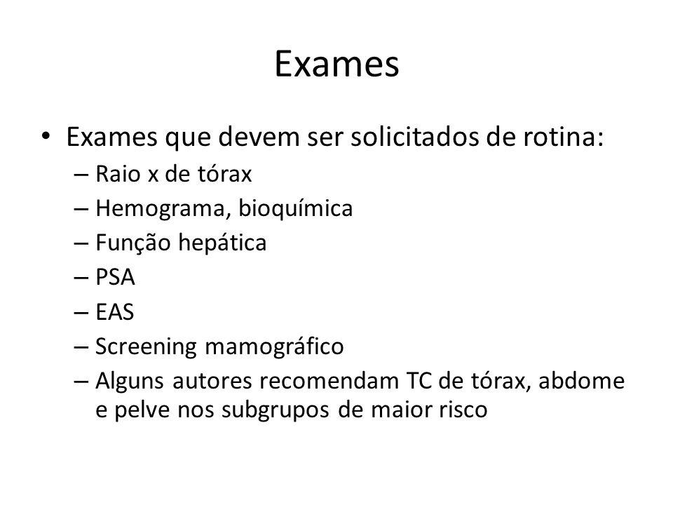 Exames Exames que devem ser solicitados de rotina: Raio x de tórax