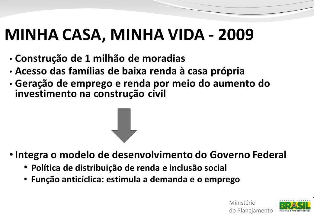 MINHA CASA, MINHA VIDA - 2009 Construção de 1 milhão de moradias