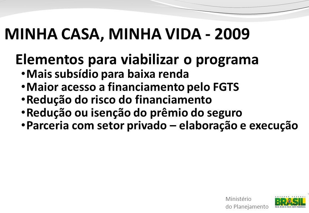 MINHA CASA, MINHA VIDA - 2009 Elementos para viabilizar o programa