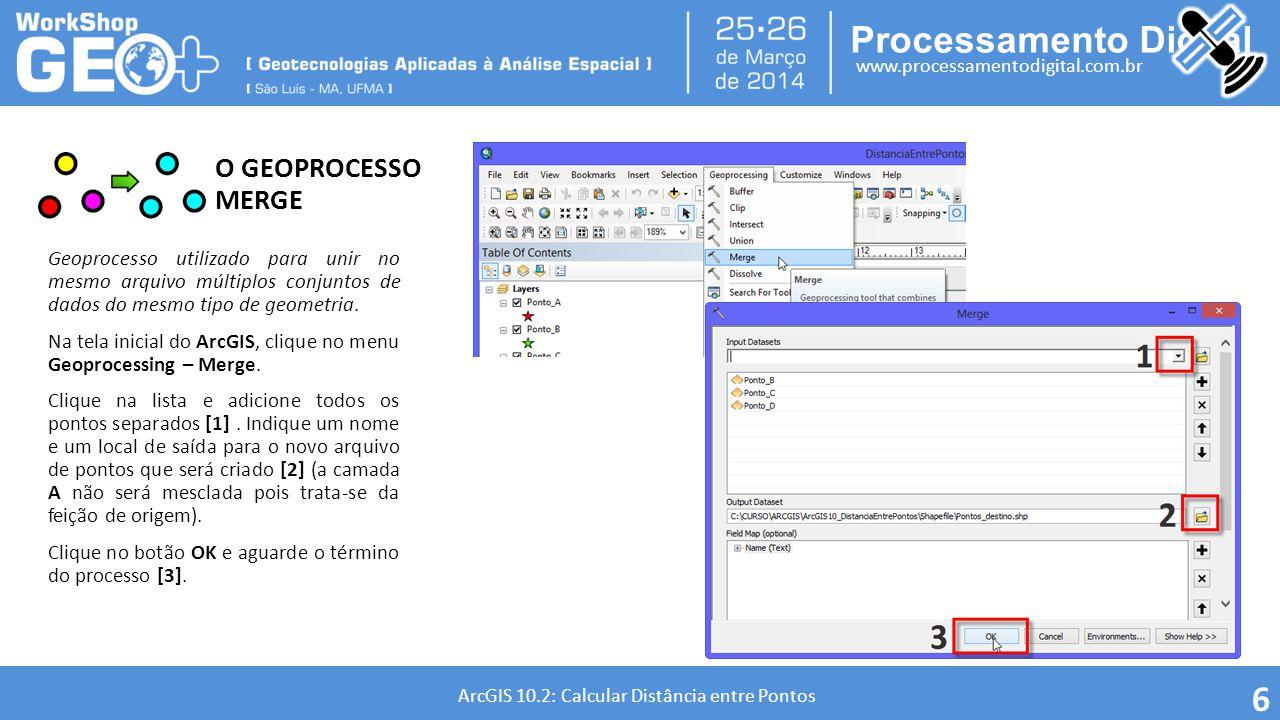O GEOPROCESSO MERGE Geoprocesso utilizado para unir no mesmo arquivo múltiplos conjuntos de dados do mesmo tipo de geometria.