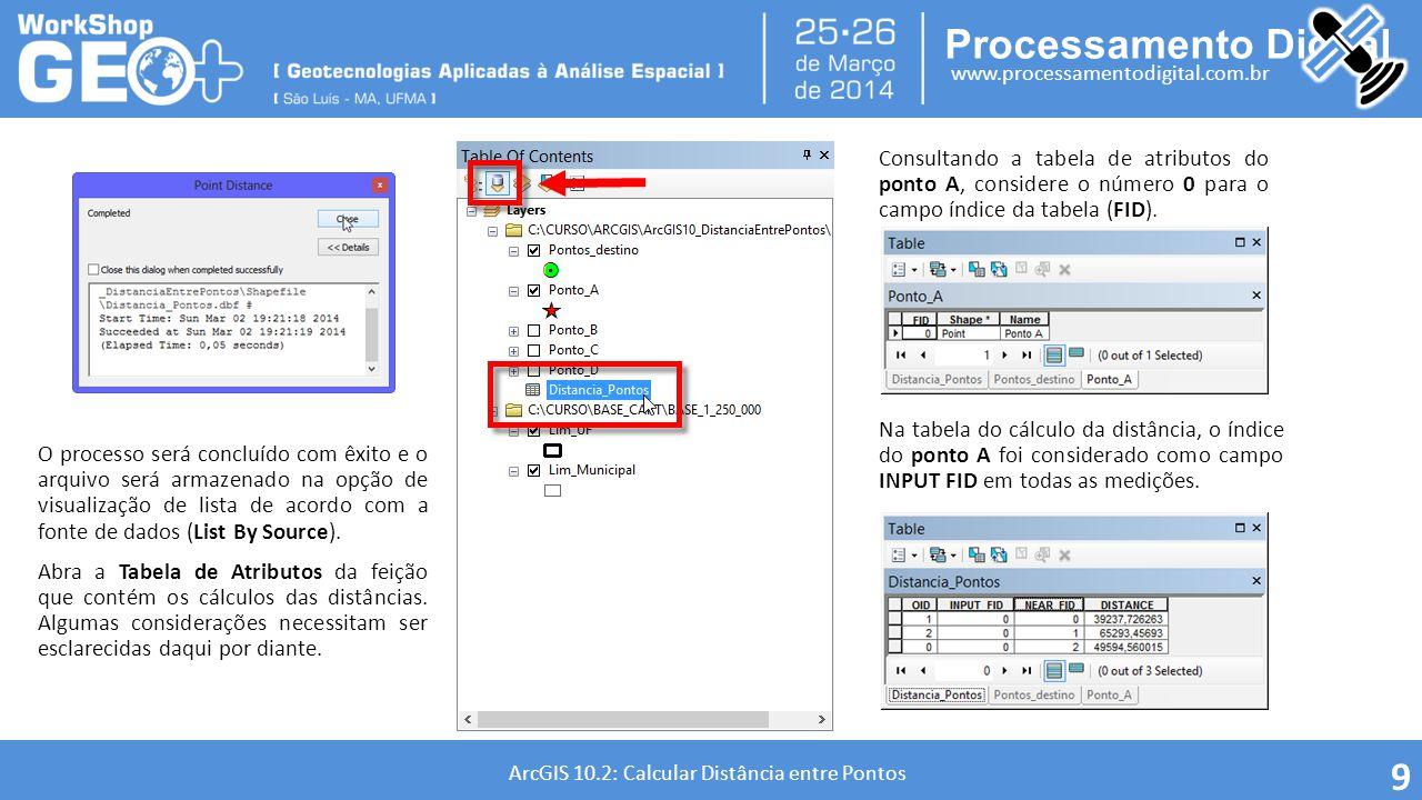 Consultando a tabela de atributos do ponto A, considere o número 0 para o campo índice da tabela (FID).