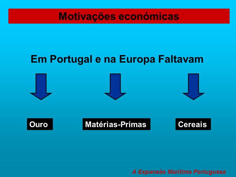 Motivações económicas Em Portugal e na Europa Faltavam