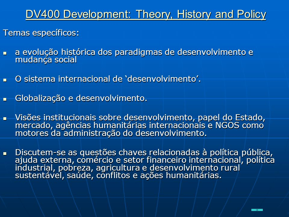 DV400 Development: Theory, History and Policy