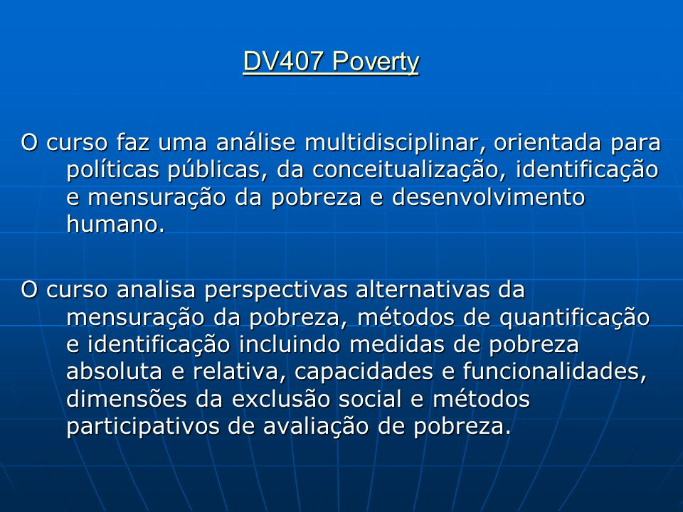 DV407 Poverty