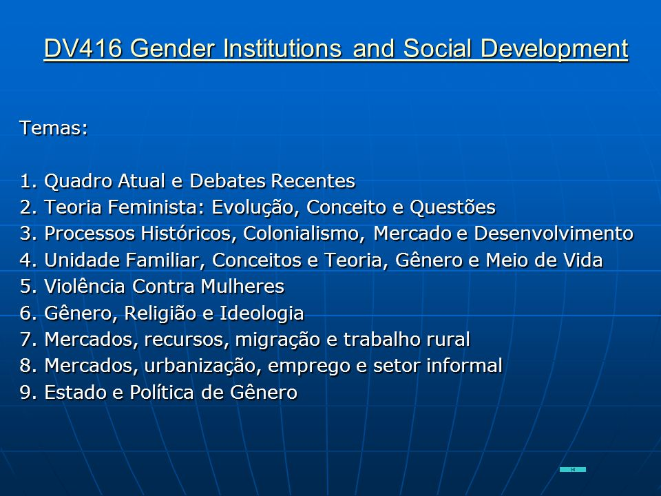 DV416 Gender Institutions and Social Development