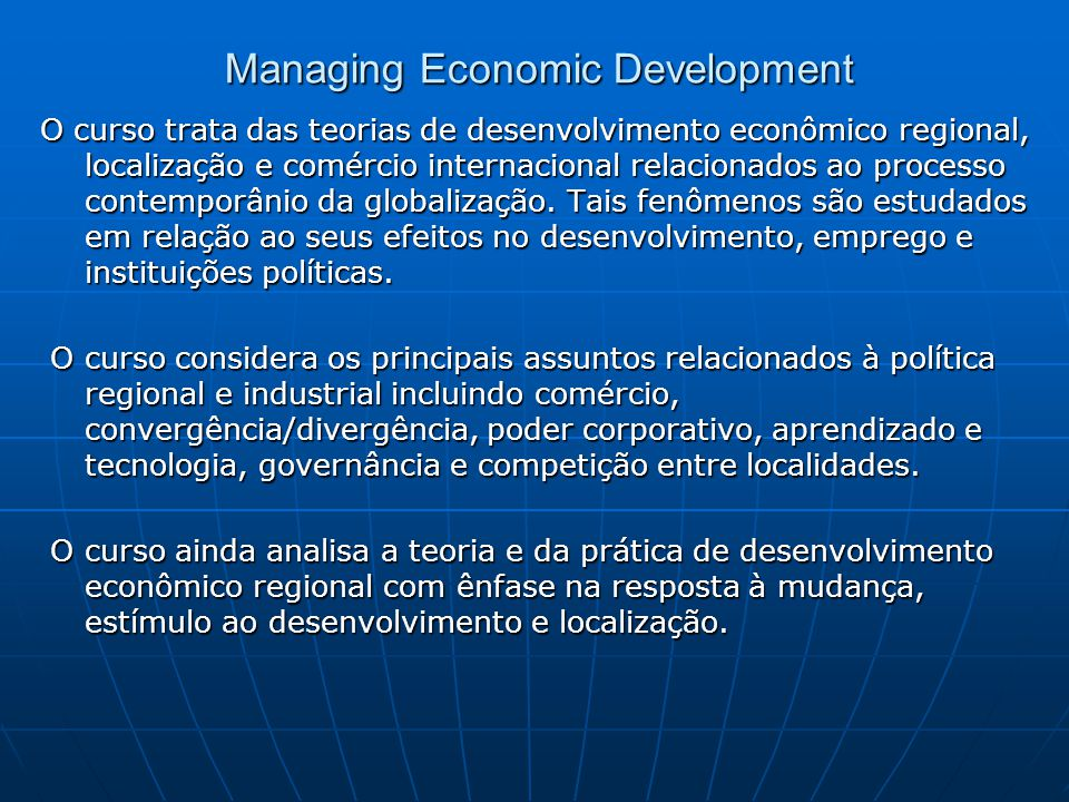 Managing Economic Development