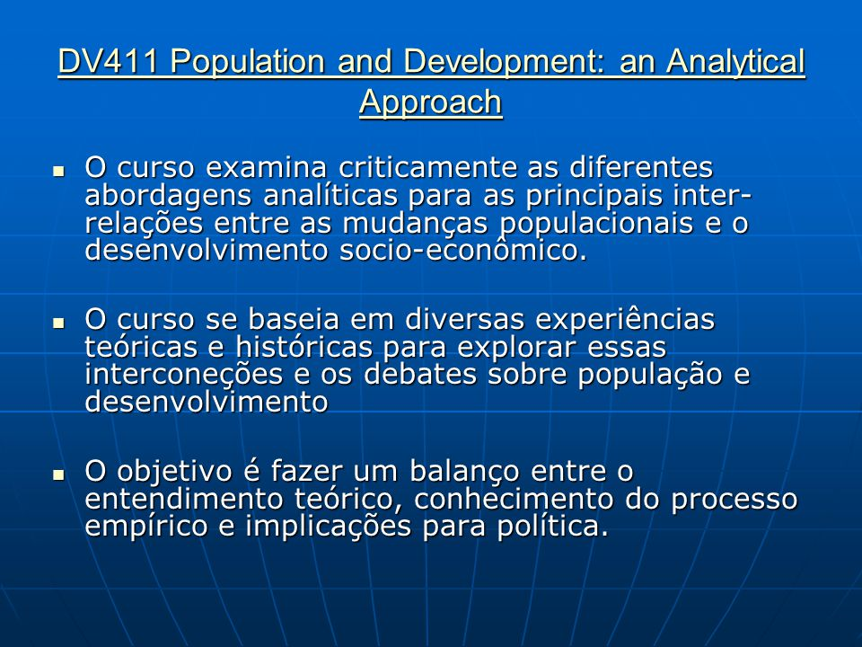 DV411 Population and Development: an Analytical Approach