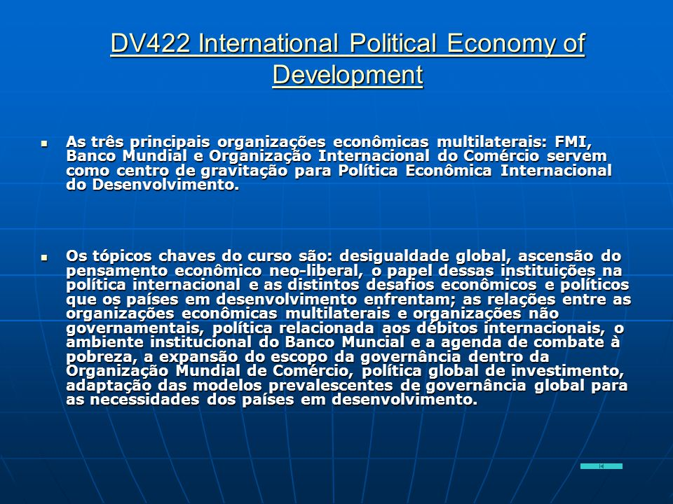 DV422 International Political Economy of Development