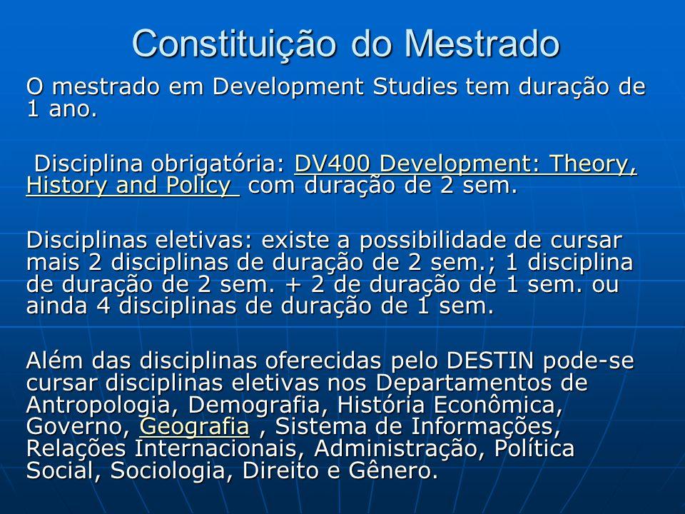 Constituição do Mestrado