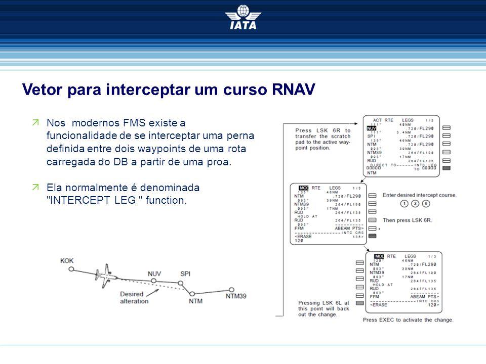 Vetor para interceptar um curso RNAV