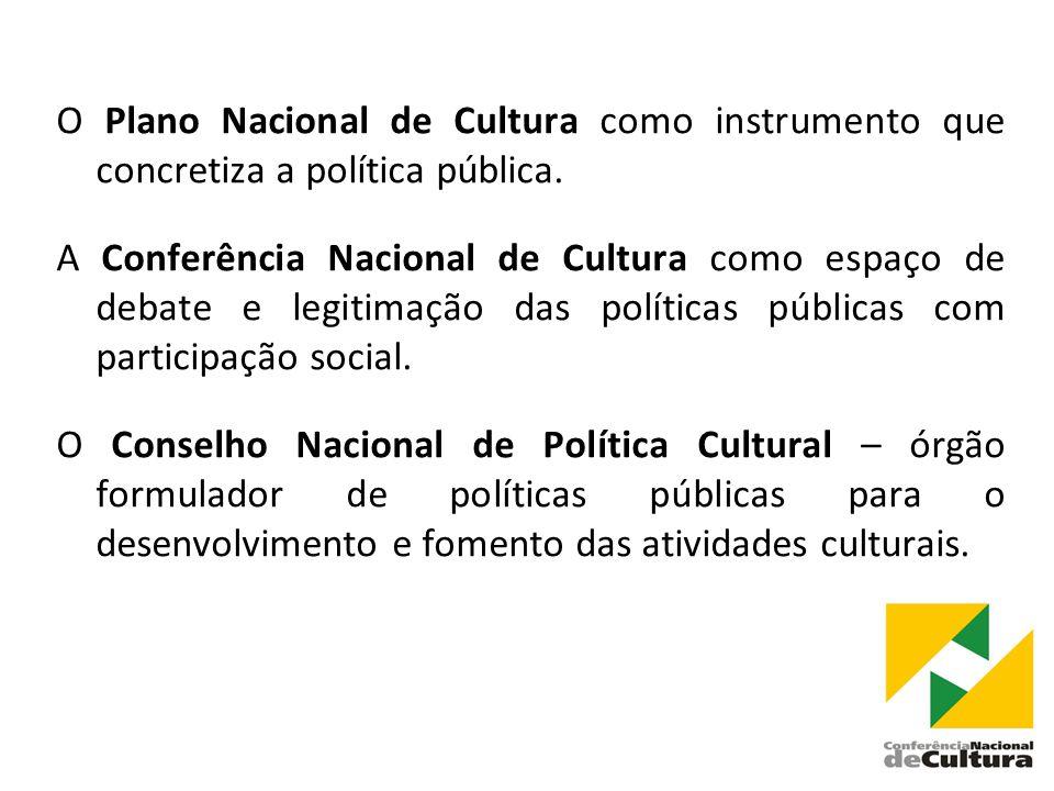 O Plano Nacional de Cultura como instrumento que concretiza a política pública.