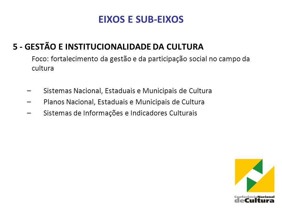 EIXOS E SUB-EIXOS 5 - GESTÃO E INSTITUCIONALIDADE DA CULTURA