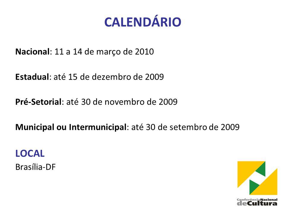 CALENDÁRIO LOCAL Nacional: 11 a 14 de março de 2010