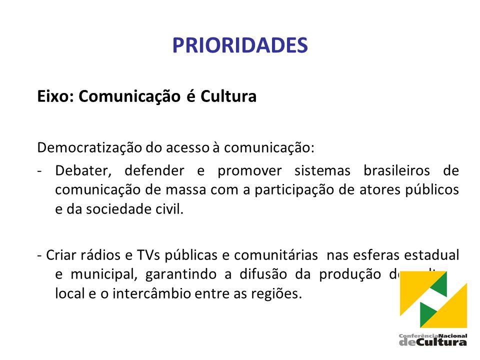 PRIORIDADES Eixo: Comunicação é Cultura