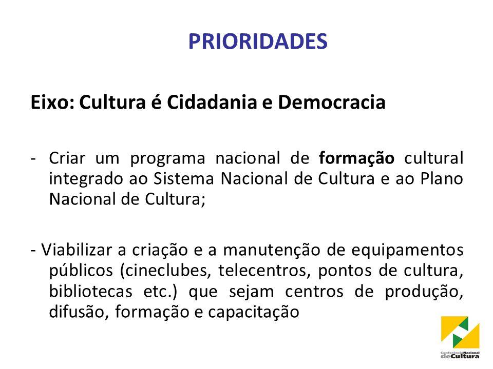 PRIORIDADES Eixo: Cultura é Cidadania e Democracia