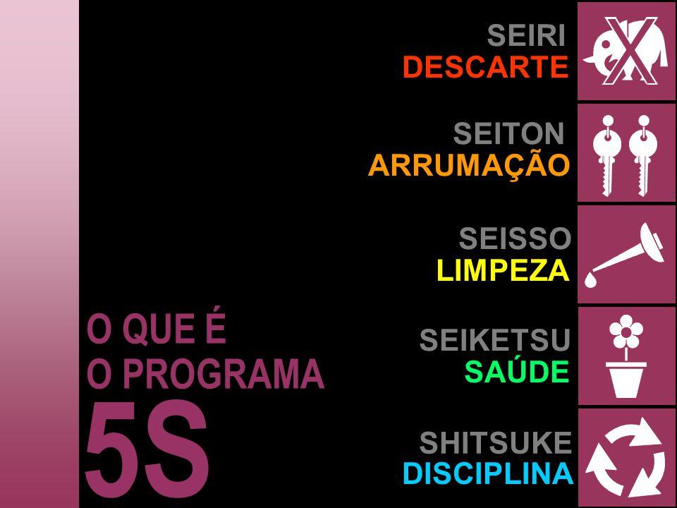 5S O QUE É O PROGRAMA SEIRI DESCARTE SEITON ARRUMAÇÃO SEISSO LIMPEZA