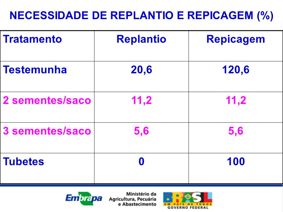 NECESSIDADE DE REPLANTIO E REPICAGEM (%)