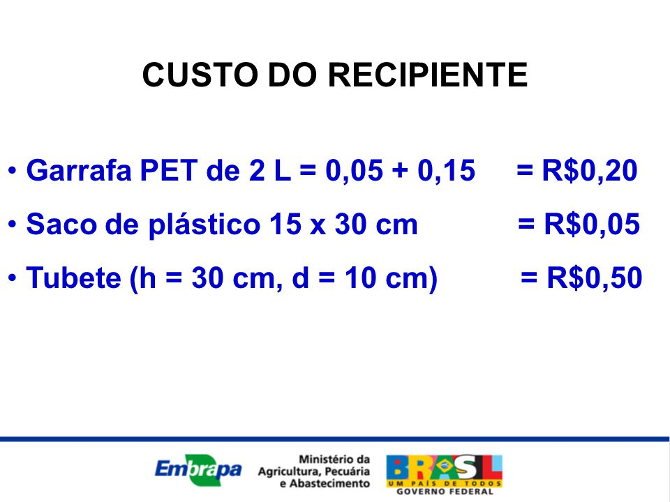 CUSTO DO RECIPIENTE Garrafa PET de 2 L = 0,05 + 0,15 = R$0,20