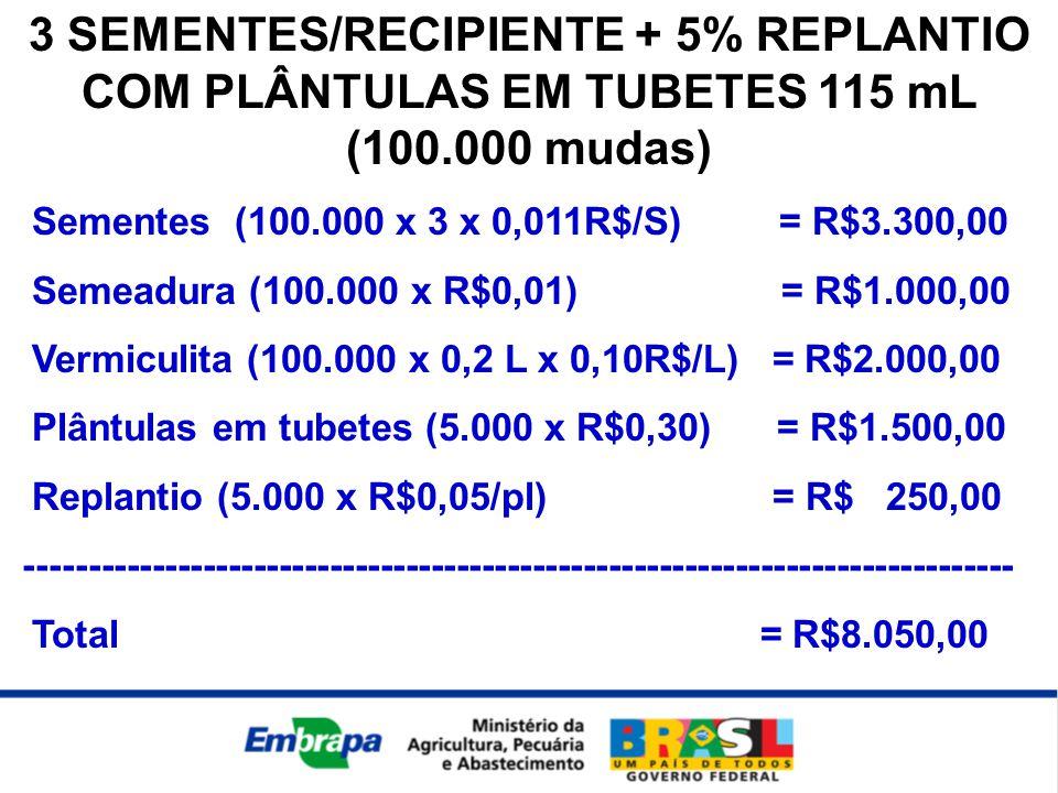 3 SEMENTES/RECIPIENTE + 5% REPLANTIO COM PLÂNTULAS EM TUBETES 115 mL (100.000 mudas)
