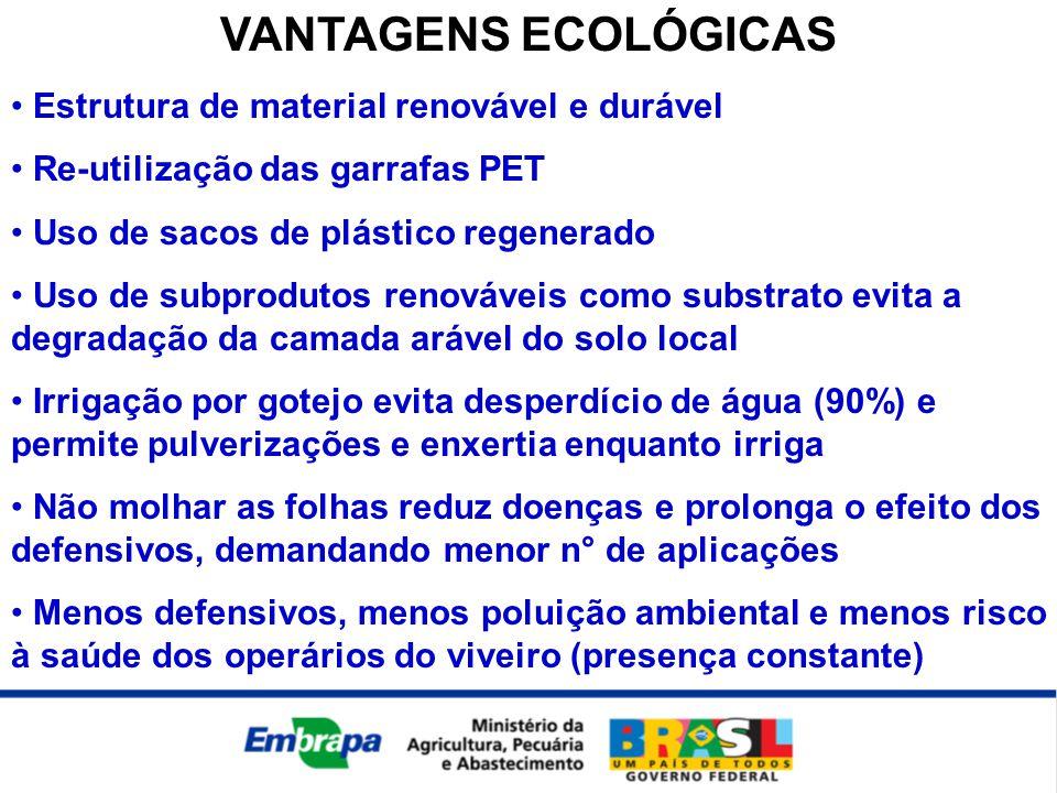 VANTAGENS ECOLÓGICAS Estrutura de material renovável e durável