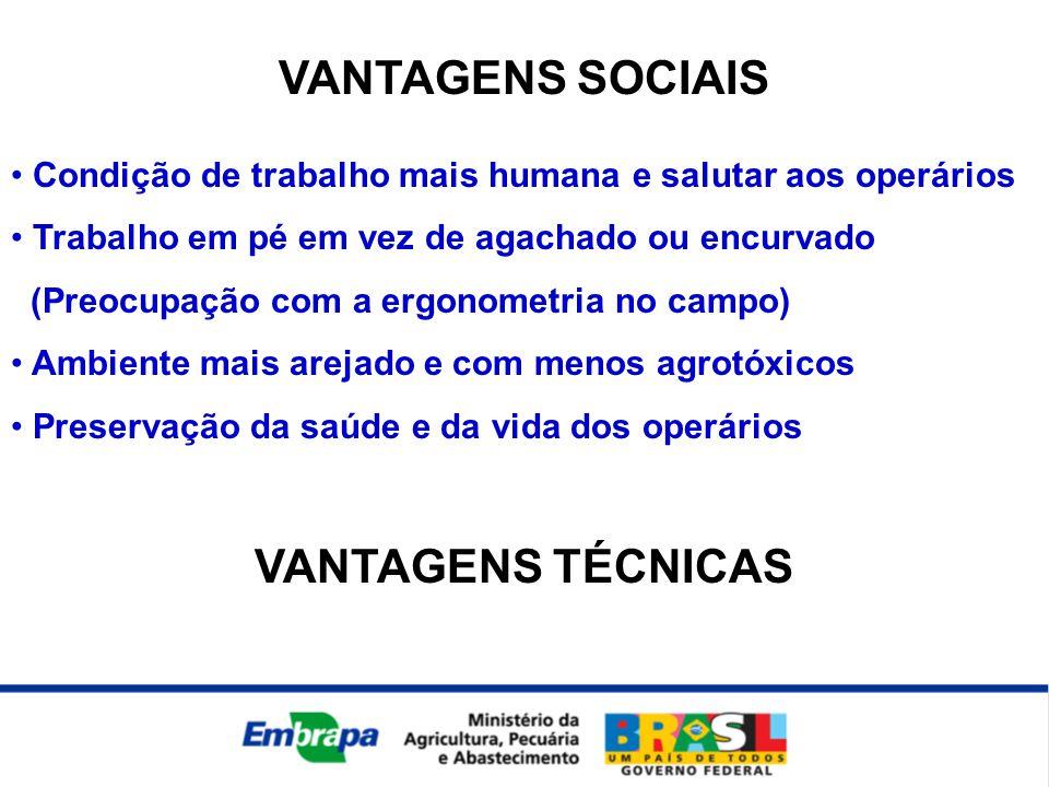 VANTAGENS SOCIAIS VANTAGENS TÉCNICAS