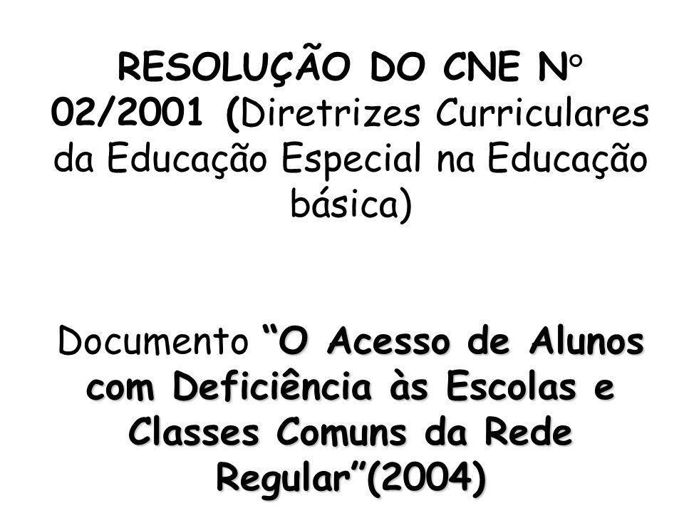 RESOLUÇÃO DO CNE N° 02/2001 (Diretrizes Curriculares da Educação Especial na Educação básica)