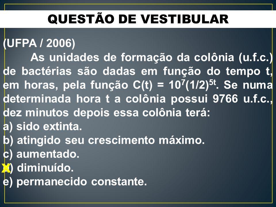 QUESTÃO DE VESTIBULAR X (UFPA / 2006)