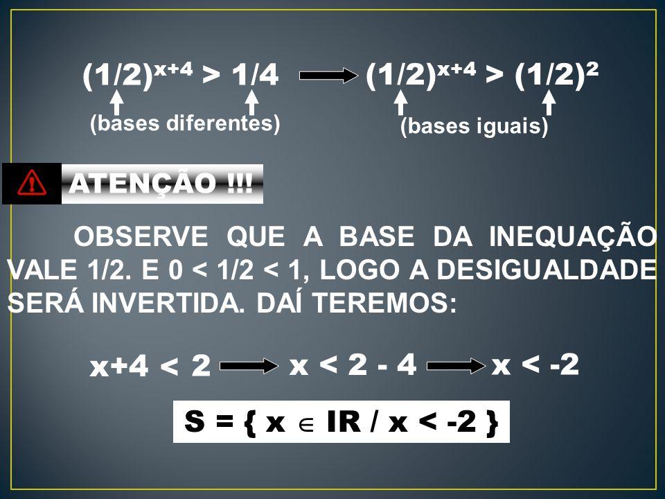 (1/2)x+4 > 1/4 (1/2)x+4 > (1/2)2 x+4 x < 2 - 4 x < -2 <