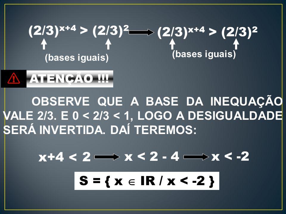(2/3)x+4 > (2/3)2 (2/3)x+4 > (2/3)2 x+4 x < 2 - 4 x < -2