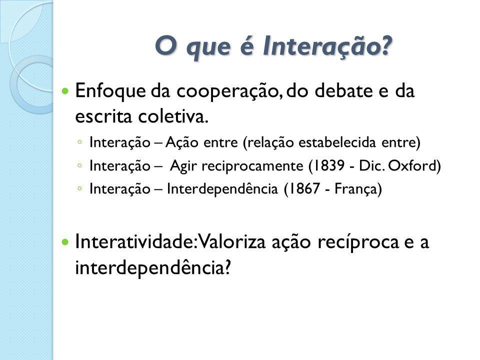 O que é Interação Enfoque da cooperação, do debate e da escrita coletiva. Interação – Ação entre (relação estabelecida entre)